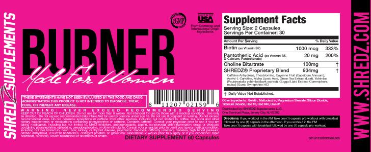 Shredz Burner Made for Women ingredients
