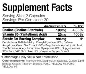 Shredz Alpha Male Stack ingredients