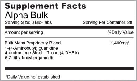 Alpha Bulk Supplement Facts