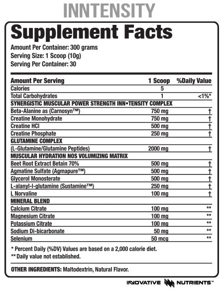 Inn-Tensity Supplement Facts