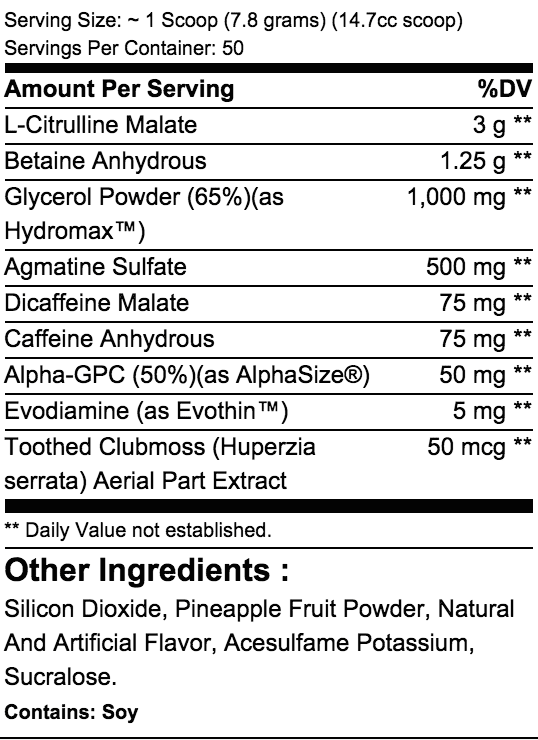 White Rapids Supplement Facts