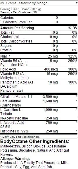Body Octane Supplement Facts