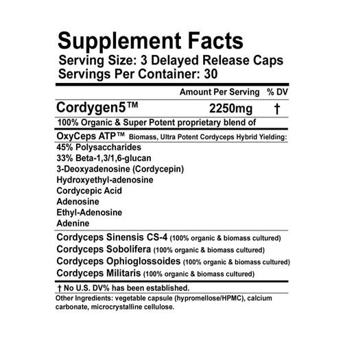 cordygen5ingredientlabell