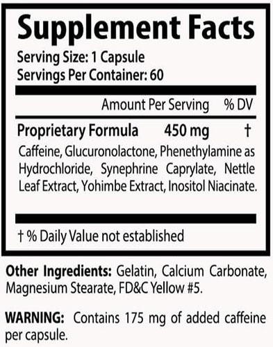 Shred-X Ingredients Label