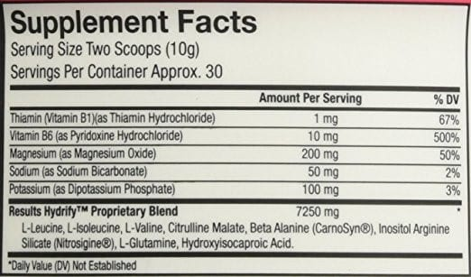 Hydrify Supplement Facts