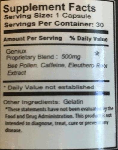 Geniux Ingredients Label