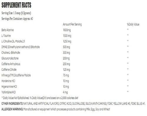 Crush Intense 2.0 Ingredients Label