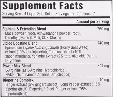 Libido Max Supplement Facts