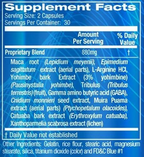 Xanogen Supplement Facts