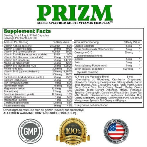 PRIZM Supplement Facts