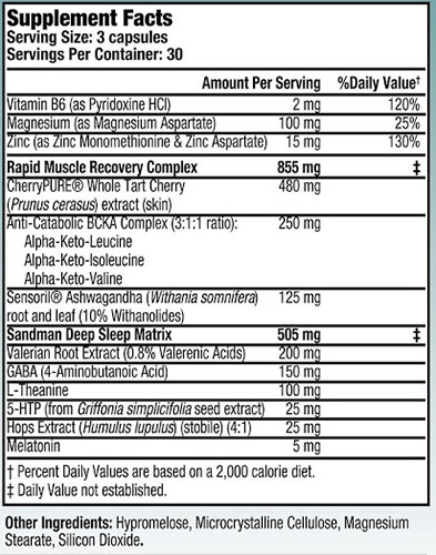 Recovery PM Ingredients Label
