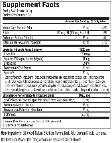 Vasculore Ingredients Label