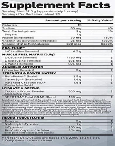 Pre Kaged Ingredients Label