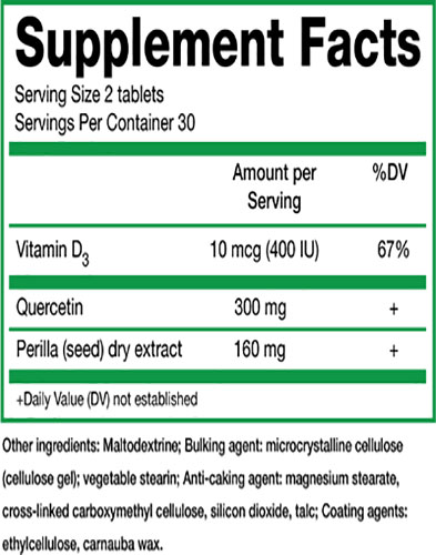 AllerVarx Ingredients Label