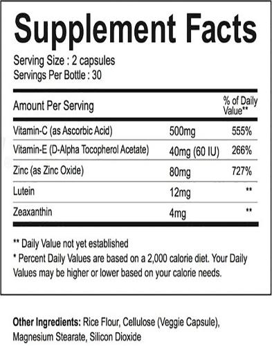 Eye Care Ingredients Label
