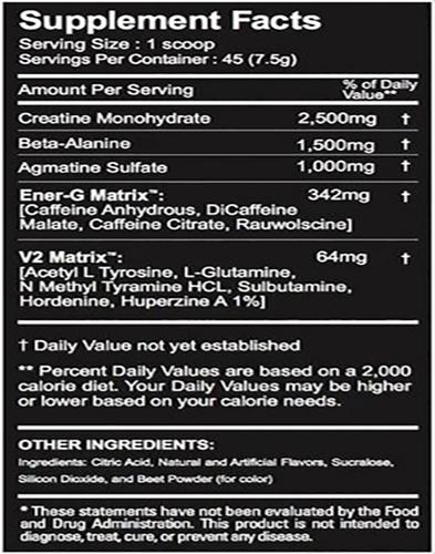 Megawatt V2 Ingredients Label