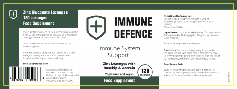 Immune Defence Ingredient Labels