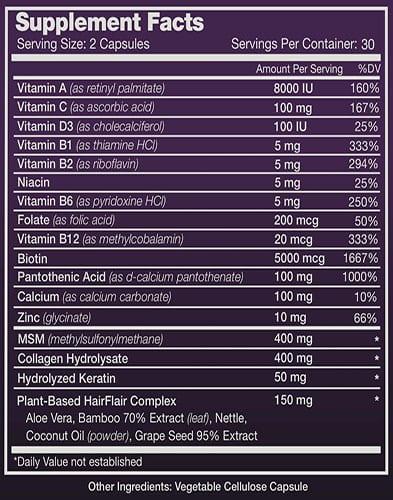 Hair Flair Ingredient Labels
