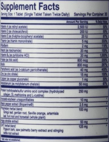 Hair Gain Ingredient Labels