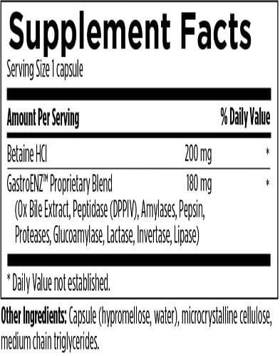 Digestzymes Ingredients Label